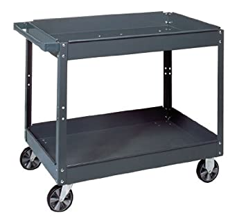 "Edsal SC2024 Industrial Gray Commercial Service Cart, Steel, 500lbs Capacity, 24"" Width x 32"" Height x 36"" Depth, 3 Shelves"