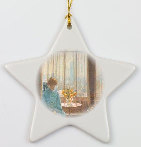 Rikki Knighttm Childe Hassam Art The Breakfast Room On A Winter Morning Porcelain Star Ornament front-636509