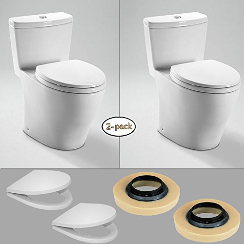 TOTO 2 x Aquia One-Piece Toilets, (Dual Flush) with 2 Wax Rings & 2 Toilet Seats (Toto Aquia Ii Dual Flush compare prices)