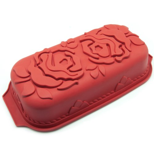 Freshware Rose Pattern Pound Cake Silicone Mold and Pan (Fruit Cake Loaf compare prices)