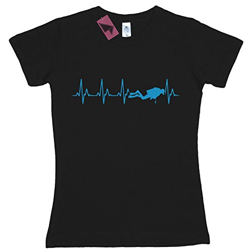 Ladies-Scuba-Diving-Heartbeat-fitted-T-Shirt