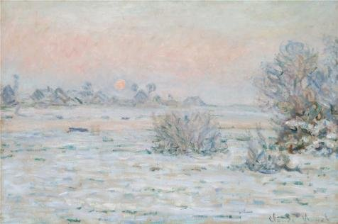 Oil painting 'Winter Sun, Lavacourt, 1879-1880 By Claude Monet' printing on Perfect effect Canvas , 16x24 inch / 41x61 cm ,the best Living Room gallery art and Home gallery art and Gifts is this Best Price Art Decorative Prints on Canvas
