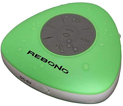 Rebono Waterproof Shower Stereo Bluetooth Speaker W/Mic & Suction Cup Mount, For Use With Latest Smartphone Devices (Green)