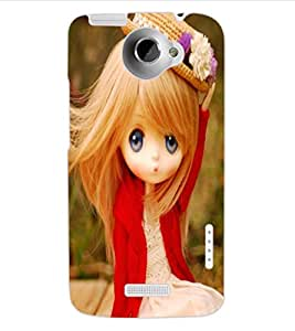 ColourCraft Cute Doll Design Back Case Cover for HTC ONE X