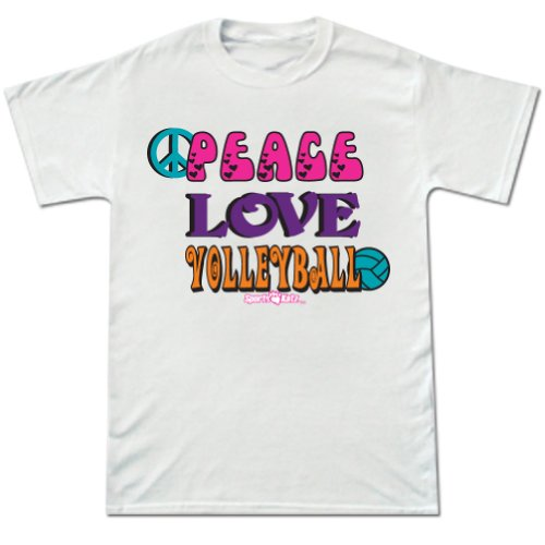 Volleyball Peace Love Short Sleeve Tee White Large front-545513