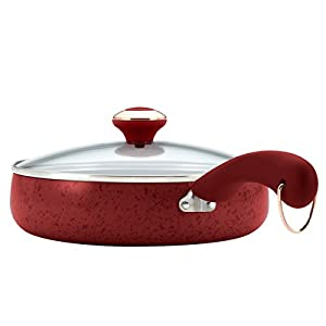 Paula Deen Signature Porcelain 5-quart Speckled Red Covered Saute