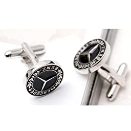 DAD HUSBAND FRIEND MERCEDES BENZ CLASSY MEN\'S POLISHED GIFT CUFF LINKS (1PAIR) with Beautiful Gift BOX - from Hibiscus Express