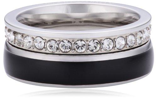 Emporio Armani Damen-Ring Edelstahl Emaille Glaskristall weiß Gr.56 (17.8) EGS1440040-8