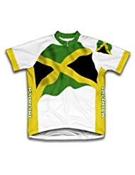 Jamaica Flag Short Sleeve Cycling Jersey for Women