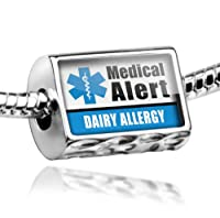 """Neonblond Beads Medical Alert Blue """"Dairy Allergy"""" - Fits Pandora Charm Bracelet by NEONBLOND Jewelry & Accessories"""