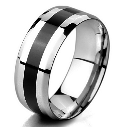 Men'S Wide 8Mm Tungsten Band Ring Comfort Fit Silver Sparkling Wedding Size7