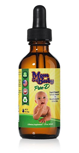 Mom & Baby Pure Vitamin-D - Best Liquid Vit D Supplement - Perfect Potency Natural Vitamin D for Breastfeeding Babies - 400 IU Vitamin-D3 Per Drop - Best Absorption for all the family - 2oz bottle
