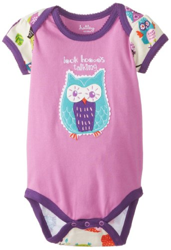 Hatley - Baby Baby-Girls Newborn Envelope Neck One Piece Party Owls, Purple, 3-6 Months front-977929