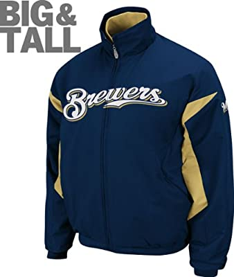 Authentic MLB Team Milwaukee Brewers Big Tall Plus Majestic Sports Zip Up Jacket