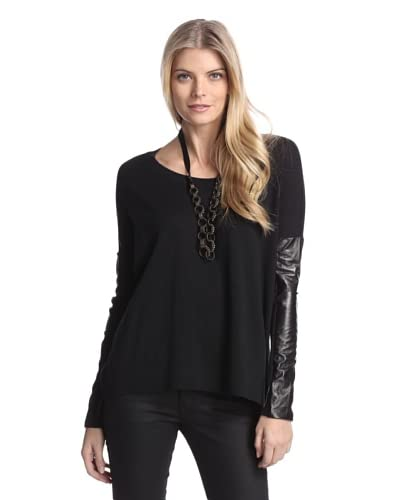 Acrobat Women's Sweater with Faux Leather Sleeves