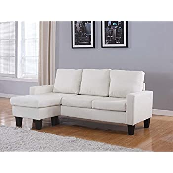 Home Life Linen Cloth Modern Contemporary Upholstered Quality Sectional Left or Right Adjustable Sectional Sofa, Large, Light Beige