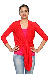 Teemoods Womens Viscose Shrugs -Red -Large
