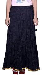 Pezzava Black Colour Solid Long Skirt