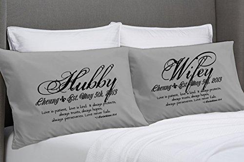 1 Corinthians 13 Love Bible Verse Pillow Cases (Standard Charcoal-personalized) Wife Husband Wifey Hubby Bedroom Pillowcases