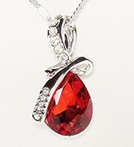 Necklace - Ruby Red Eternal Love Teardrop Swarovski Elements Crystal Pendant Necklace for Women W 18k White Gold Plated ...Colored Crystal Tear Drop -Twist of Ruby Red