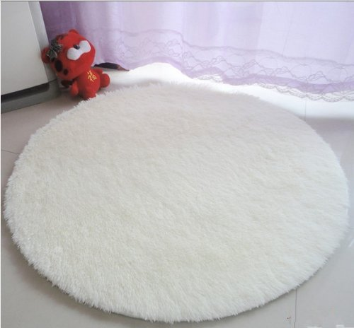 Round Shaggy Area Rugs and Carpet Super soft Sitting Room The Bedroom Home Carpet White Computer Chair Cushion (White)