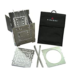 Firebox 5 Folding Campfire Stove + Grill & Boil Plate +D-ring Carrying Case by Firebox