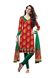 Charu Boutique Women Cotton Dress Material (Smm8963-04 _Red)