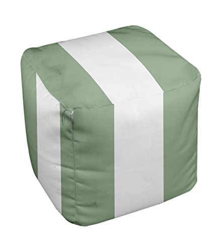 E by design Stripe Pouf, 13-Inch, 3Margarita Green