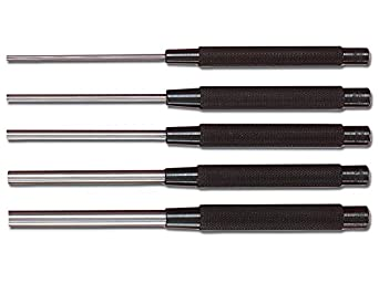 """Starrett S248PC Extended Length Drive Pin Punch, 1/8""""-3/8"""" Pin Diameters, 8"""" Overall Length, 3-1/2"""" Pin Length, In Red Vinyl Pouch (Pack of 5)"""