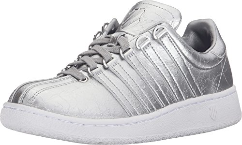 K-Swiss Women's Classic VN Aged Foil Athletic Shoe, Silver/White, 8 M US