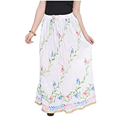 Beautiful cotton Printed White Long Skirt from the house of Nisba Fashions