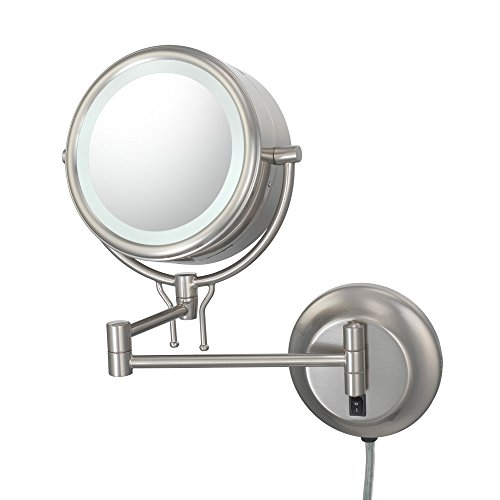 Kimball And Young 91475 Double-Sided Contemporary Wall Mirror Plug-In, 1X And 5X Magnification, Brushed Nickel front-897079