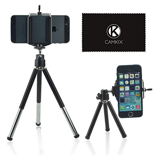 Camkix Universal Adjustable Tripod Kit including 1 Tripod / 1 Universal Phone Holder / 1 Velvet Phone Bag / 1 Microfiber Cleaning Cloth - suitable for iphones, htc, samsung series M7 and More (Black)
