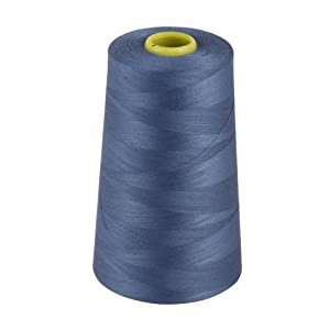 Overlocking Thread - Overlocker Thread - Polyester Thread - Industrial Sewing Thread - 4 X 5000 Yard Spools - Large Colour Selection Including: Black White Red Blue Cream Navy Purple Pink Green Grey Brown Olive Sky Gold (blue 2967)