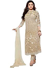 Galaxy Women's Georgette Semi Stitched Anarkali Dress Material (Free Size_Cream)