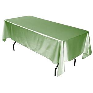 LinenTablecloth 60 x 102-Inch Rectangular Satin Tablecloth Sage from LinenTablecloth