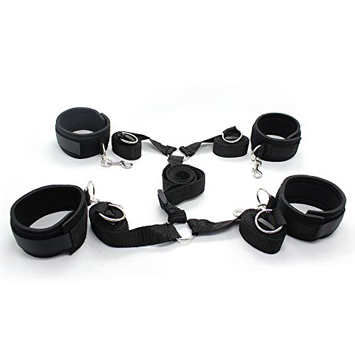 Bed Restraint System Bondage Kit for Beginner and Couple Alike From Primal Juice, Have a Fun and Sexy Bedroom Play Ideal for BDSM S&M Sm or Sex, Get this Fetish Love Set Today!