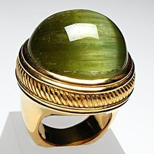Natural Cats Eye Green Tourmaline Cocktail Ring Solid 22k Gold