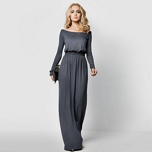 Long sleeve boat neck maxi dress
