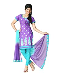 PShopee Purple & Sky Blue Cotton Reshim Embroidery Unsticthed Dress Material
