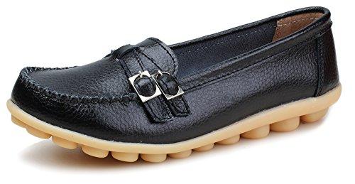 Kunsto Women's Leather Loafer Shoes Slip On US Size 9 Black