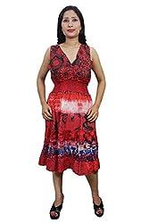 Indiatrendzs Women Dresses Printed Red Casual Wear Cotton Midi Dress