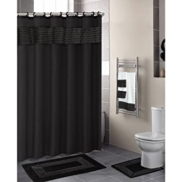 Black Floral Ribbon 18 Piece Bathroom Set 3488