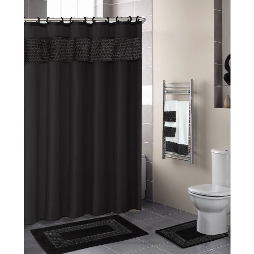 Black FLORAL RIBBON 18 Piece Bathroom Set: 2 Rugs/Mats, 1