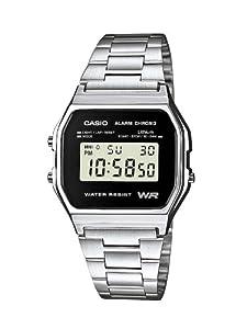 Casio CASIO Collection Men - Reloj digital de caballero de cuarzo con correa de acero inoxidable plateada (alarma, cronómetro, luz)