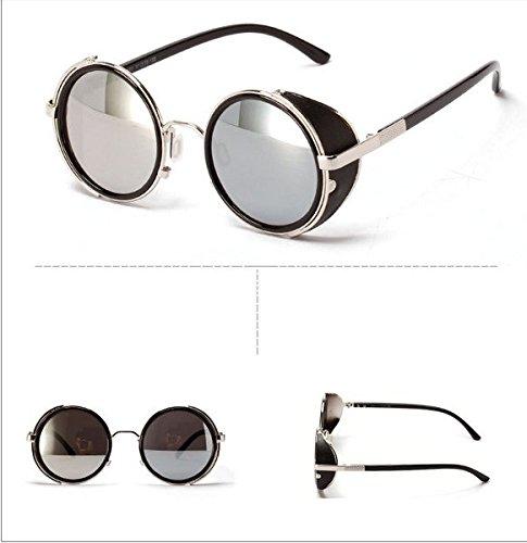 Vintage 50s Steampunk Round Mirror Lens Glasses Sun Glasses Men Women Unisex Retro Style Glasses Circle Frame Blinder Sunglasses Cyber Goggels Eyeglasses Eyewear Grey 6