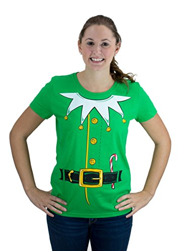 Santa's Elf Costume | Jumbo Print Novelty Christmas Holiday Humor Ladies T-shirt