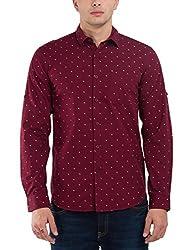 Highlander Men's Casual Shirt (13110001479779_HLSH008993_Small_Maroon)