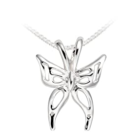 "Sterling Silver Butterfly Pendant, 18"" from amazon.com"
