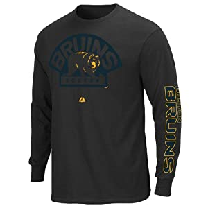 NHL Boston Bruins Men's Goal Crease Long Sleeve Shirt, Black, Large